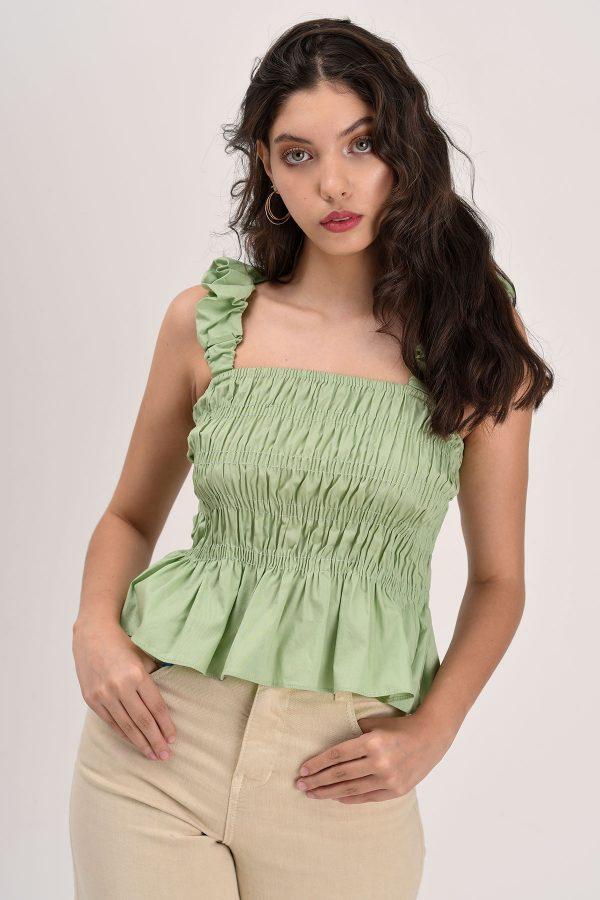 blusa verde menta zurcida